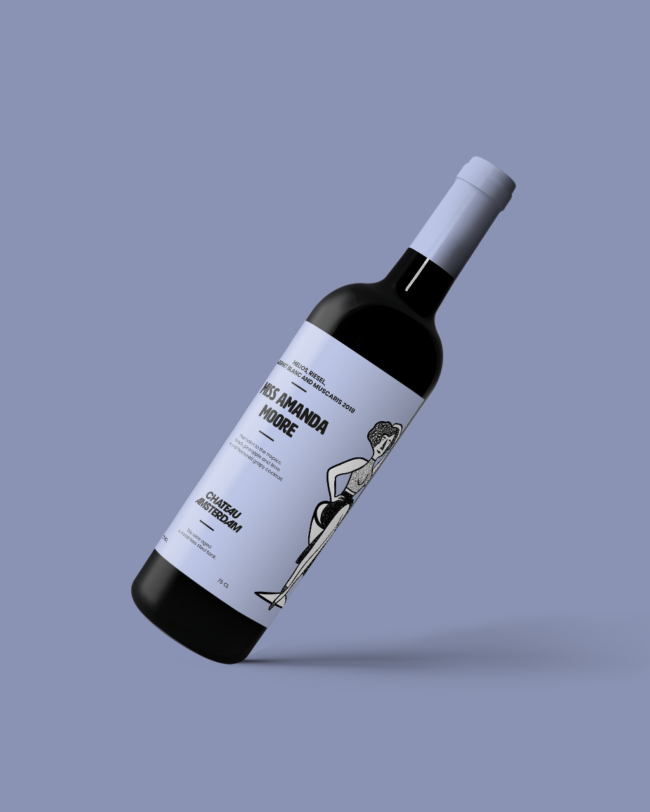 colorful wine label design for Chateau Amsterdam by graphic designer Roos Oosterbroek